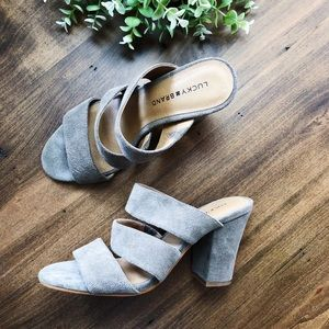 Lucky Brand Gray Strap Suede Heeled Sandals
